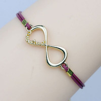 ONE DIRECTION Bracelet in Gold   Infinity directioner ,  Leather bracelet   24 colors available