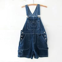 90s Bib Overalls jean shorts. Women's dungarees.