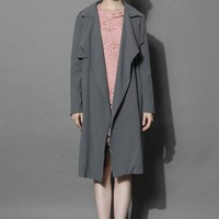 My Chic Open Trench Coat in Smoke