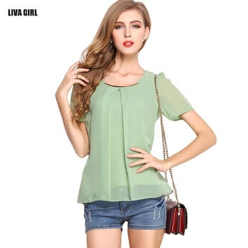 Hot Sale Chiffon Tops 2016 New Brand Summer Women T-shirt Casual Slim Fit Short Sleeve O-neck Femininas Loose Chiffon Tee