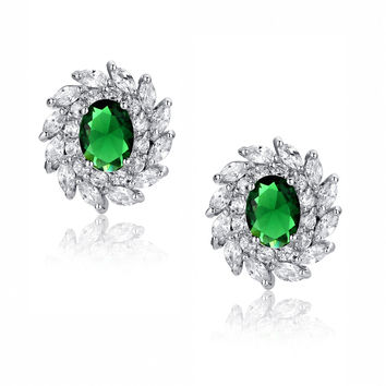 Green Oval and Clear Swirling Cubic Zirconias Stud Earrings