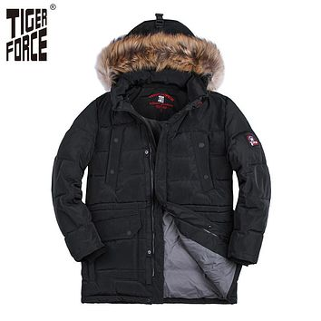Men Fashion Padded Jacket Long Parka Hooded Coat Parkas Raccoon Fur Collar Rib Cuff