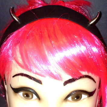 Devil Horns Headband Black With Metal Spikes Head scarf Wrap Tie Studded