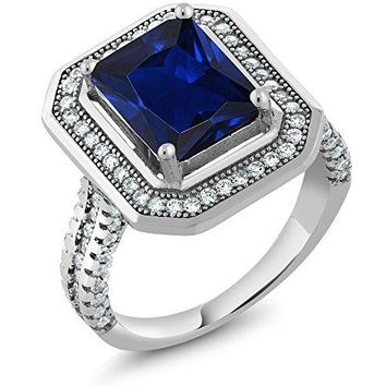 432 Ct Stunning Emerald Cut Blue Simulated Sapphire 925 Sterling Silver Womens Ring Available 56789