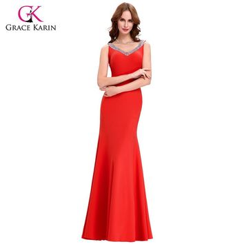 2017 Prom Dress Grace Karin Women Bodycon Winter Sexy Backless Long Formal Evening Gowns Mermaid Prom Celebrity Dresses 6061