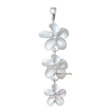 925 STERLING SILVER 3 HAWAIIAN PLUMERIA FLOWER DANGLE PENDANT CZ