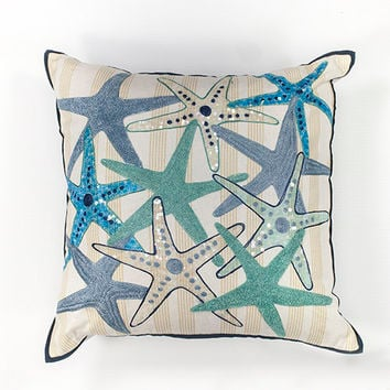 KAS Oriental Rugs PILL11018SQ Ivory and Blue Starfish Gala 18-Inch Decorative Pillow