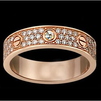 Cartier Popular Women Men Three Rows Of Drill Diamond Ring Stars Couple Ring Accessories Rose Gold