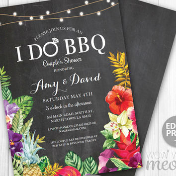Aloha I Do BBQ Invitations Couple's Shower Floral Printable Invite Engagement Party INSTANT DOWNLOAD Pink Personalize Editable Printable