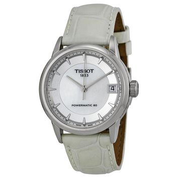 Tissot Powermatic 80 Mother of Pearl Dial White Leather Ladies Watch