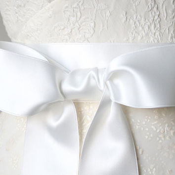 Satin Ribbon Belt - Bridal White, 2 Inches Wide