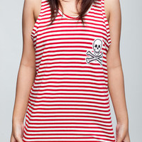 Skull Red Stripe T Shirt Death Skeleton Women T-Shirt Vest Tank Top Singlet Sleeveless Size S M