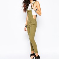 Liquor & Poker Skinny Fit Dungarees With All Over Rips & Distressing at asos.com