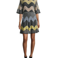 M Missoni Wave Intarsia Sheer Mini Dress