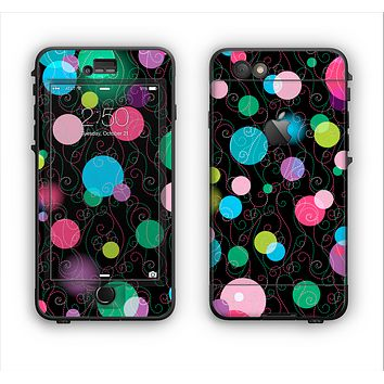 The Neon Colorful Stringy Orbs Apple iPhone 6 Plus LifeProof Nuud Case Skin Set
