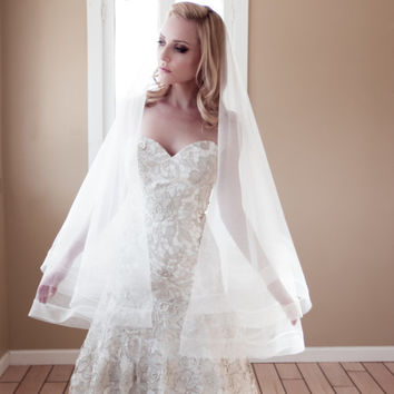 "Drop Wedding Veil with 2"" Thick Horsehair Border,  Ivory Bridal Illusion Veil w/ Blusher and Large Ribbon Edge, Style: 2"" Horsehair #1203-2"