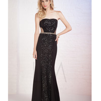 LM by Mignon HY1269B Black Sequin Strapless Belted Dress 2015 Prom Dresses