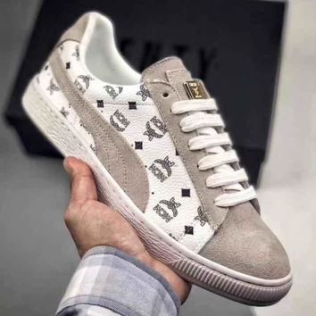 MCM X PUMA Wing Print Logo Women Men Trending Sneakers Flat Shoes B-CSXY Beige
