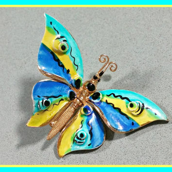 Vintage Coro Butterfly Brooch Enamel in Vibrant Colors Blues Yellow Aqua Blue Moveable Repositionable Wings Gold Metal Articulated Butterfly