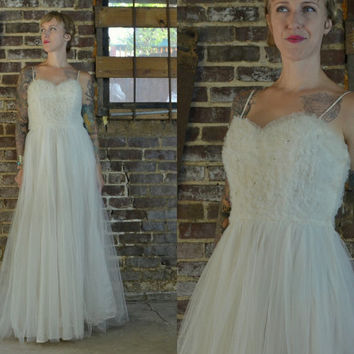 50's Cupcake Beaded Tulle White Ruffled Lace Wedding Dress