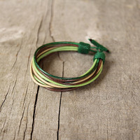 Colorful multi string mens bracelet Multistrand cord bracelet for men Brown Green Waxed strings layered bracelet Gift for boyfriend
