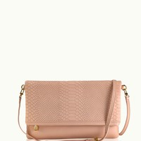 GiGi New York Carly Convertible Clutch Desert Rose Embossed Python Leather
