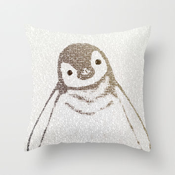 The Little Intellectual Penguin Throw Pillow by Paula Belle Flores