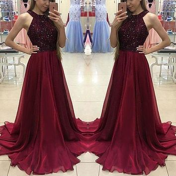 Women Sexy Sleeveless Dress 2019 Summer Vintage Lace Sequins Long Maxi Dresses Beach Holday Evening Party Formal Halter Dresses