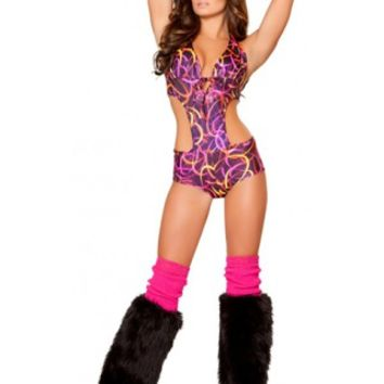 1pc Tie Front Romper - Pink Swirl Rave Clothing