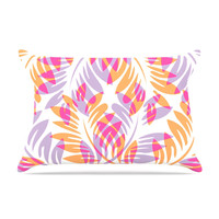 "Alison Coxon ""Summer Fern"" Pink Orange Pillow Case"