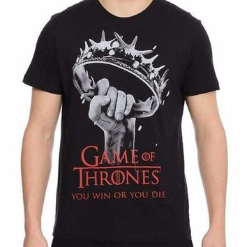 Game Of Thrones Win Or Die Black Half Sleeve Men