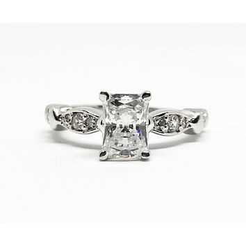 A Perfect 1.15CT Emerald Cut Solitaire Russian Lab Diamond Engagement Ring