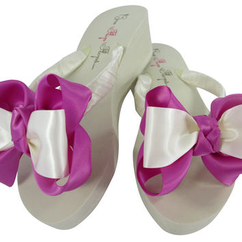 Bride & Bridesmaid Bow Flip Flops with Garden Rose Satin Platform