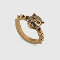 Tiger head Gucci Noble High 2018 New Serpenti ring AAAA diamond drill hollowed out Antique tidal bronze