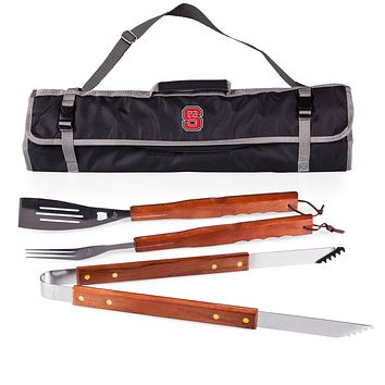 NC State Wolfpack 3-Pc BBQ Tote & Tools Set-Black Digital Print