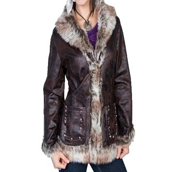 Scully Mottled Faux Shearling Jacket~ Dark  Brown