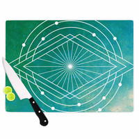 "Matt Eklund ""Atlantis"" Teal Geometric Cutting Board"