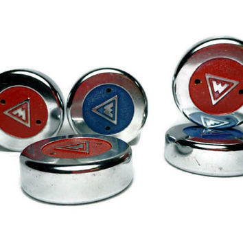 Vintage Table Shuffleboard Pucks, Red and Blue Weighted Discs, Metal