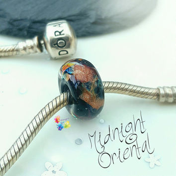 Lampwork European Charm Bead, Midnight Oriental, Valentine, gift for her, gold, jet black, girlfriend, jewellery, jewelry