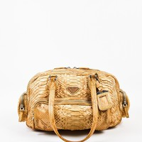 Prada Beige Tan Python Leather Limited Edition Shoulder Bag
