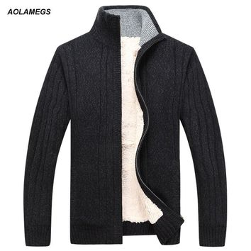 Aolamegs Sweater Men Autumn Winter Wool Thick Male Cardigan 2016 Fashion Brand Clothing Outwear Knitting Sweter Hombre M-3XL