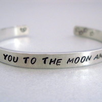 2-Sided Hand Stamped Aluminum Cuff Bracelet - I Love You to the Moon and Back