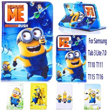 Case For Samsung Galaxy Tab 3 Lite 7.0 T110 T111 T115 case minions Despicable Me tablet Cover Flip stand shell coque para