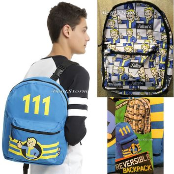 "Licensed cool Fallout 4 Vault Boy 111 REVERSIBLE Flip Pak Backpack School Book Bag 12""x18"" NEW"