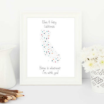 customised maps, personalised maps, custom maps, personalised print, polka dots, polka dot print, californian map, creative gifts, unique