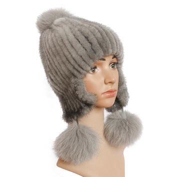 Real women's fur hats Winter mink fur hat Fox fur ball warm earmuffs hat with ears aviator bomber hats