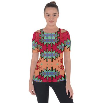 Misc Tribal Shapes Shoulder Cut Out Short Sleeve Top
