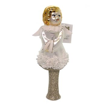 Golden Bell Collection ANGEL TREE TOPPER Glass Hand Painted Tt468
