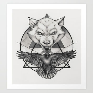 Wolf and Crow - Emblem Art Print by Puddingshades