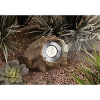 Smith & Hawken® Solar Rock Lights Sandstone Brown - 2 pack
